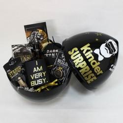 Большой черный киндер с наполнением премиум «Gold»