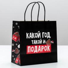 Пакет новогодний «Какой год, такой и подарок» 22 × 22 × 11 см
