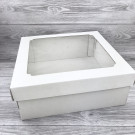 Белая коробка с прозрачной крышкой 30х30х12