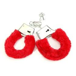Красные меховые наручники