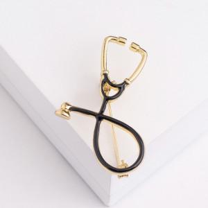 Черная брошь для врача «Стетоскоп»