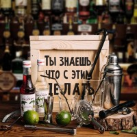 Набор бармена для котейлей в деревянном ящике «Shake it»