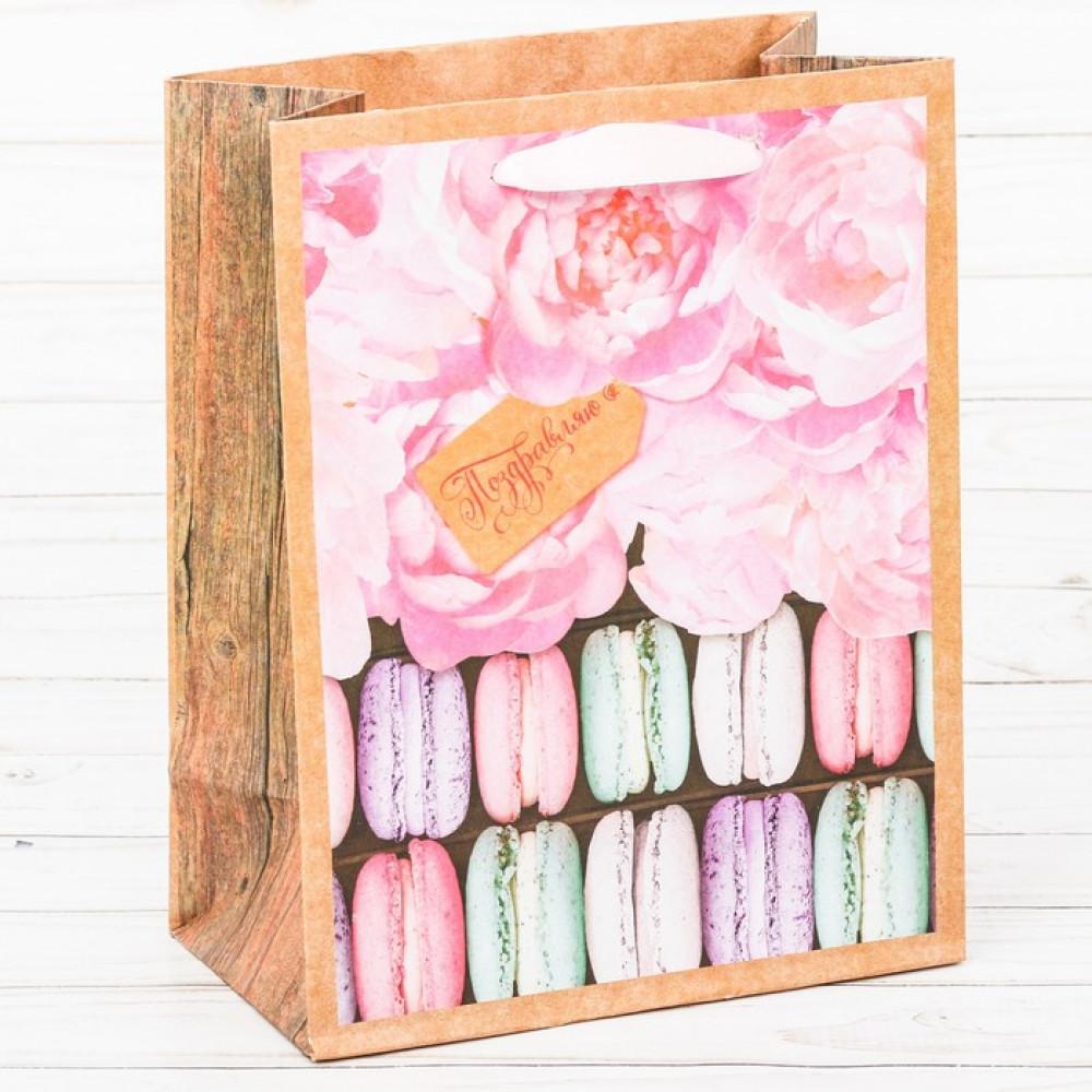 Пакет крафтовый вертикальный «Поздравляю!» ML 23 × 27 × 11,5 см