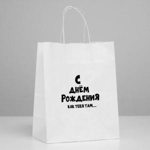 Пакет подарочный «С ДР как тебя там» 24 х 14 х 30 см