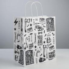 Подарочный крафт пакет Hard man 28 × 32 × 15 см
