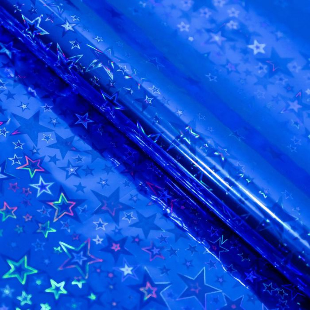 Упаковочная бумага синяя со звездами