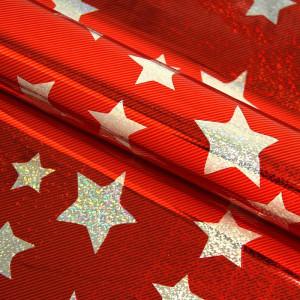 Упаковочная пленка красная со звездами