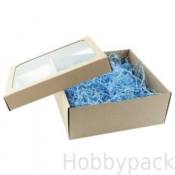 Подарочная крафт коробка с прозрачной крышкой
