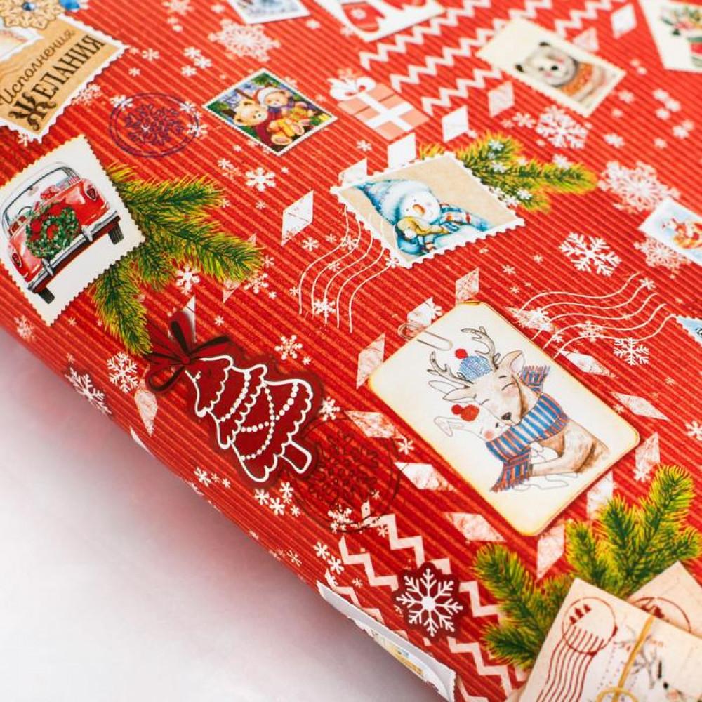 Упаковочная бумага новогодняя красная
