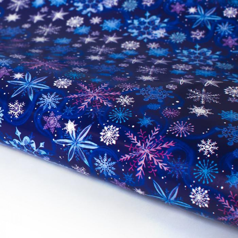 Упаковочная бумага синяя со снежинками