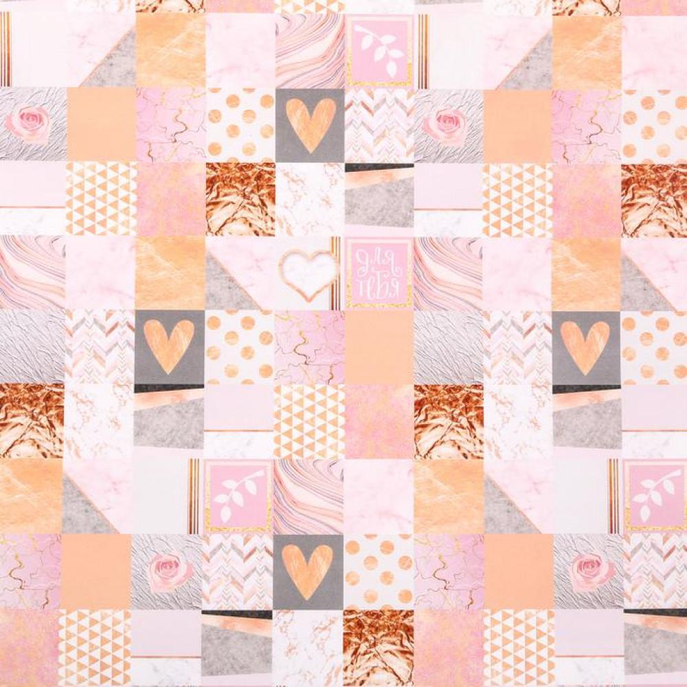 Упаковочная бумага нежно розовая с сердечками