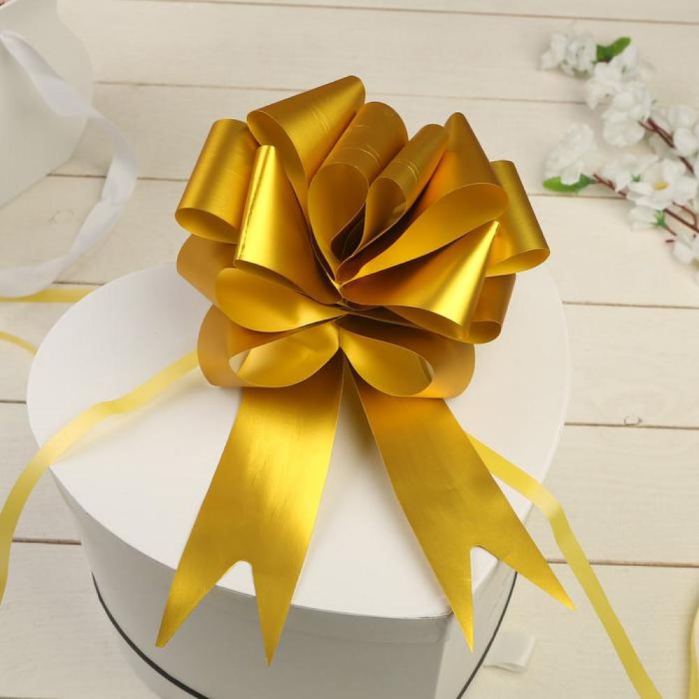 Большой золотой бант для подарка