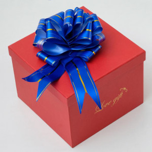 Синий подарочный бант