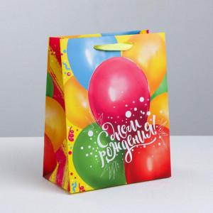 Пакет подарочный «С днем Рождения» (шарики) 26 × 30 × 9 см