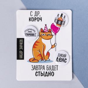 Значки закатные - мини «С ДР, короч», 9  х 11,5 см