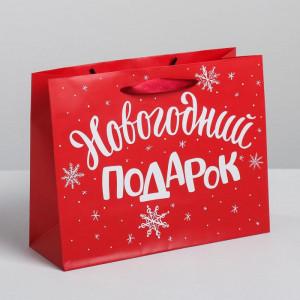 Красный пакет «Новогодний подарок» 23 × 18 × 8 см