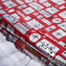 Упаковочная пленка красная с подарками