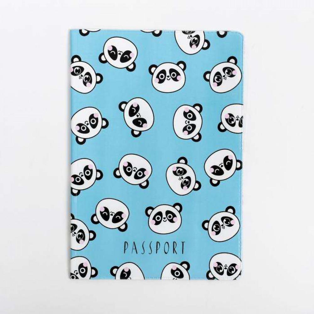 Обложка на паспорт «Панды» (голубая)