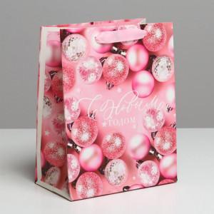 Новогодний пакет «Розовые шарики» 18 × 23 × 10 см