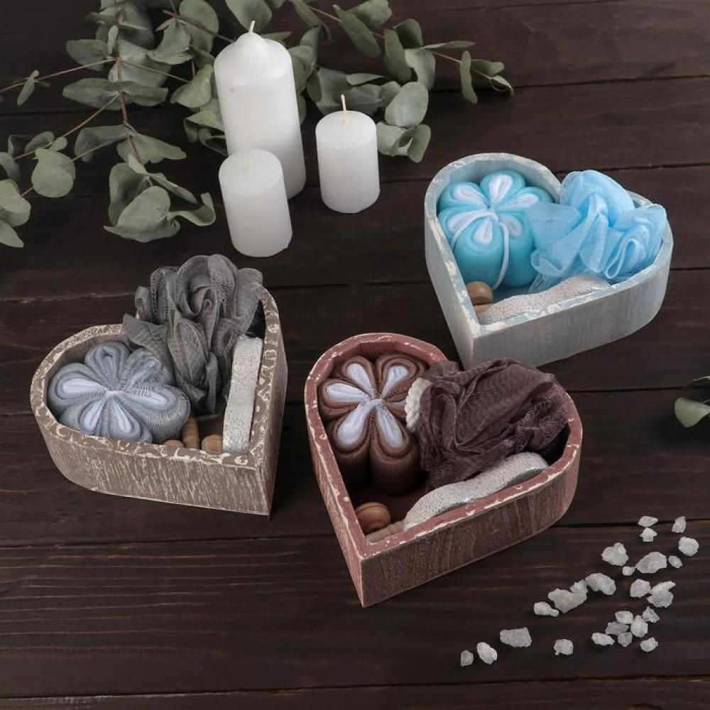 Банный набор в сердце: 2 мочалки, массажёр, пемза