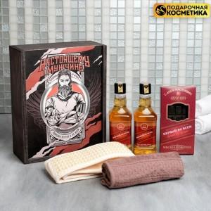 """Банный набор на 23 февраля """"Настоящему мужчине"""" в деревянной коробке"""