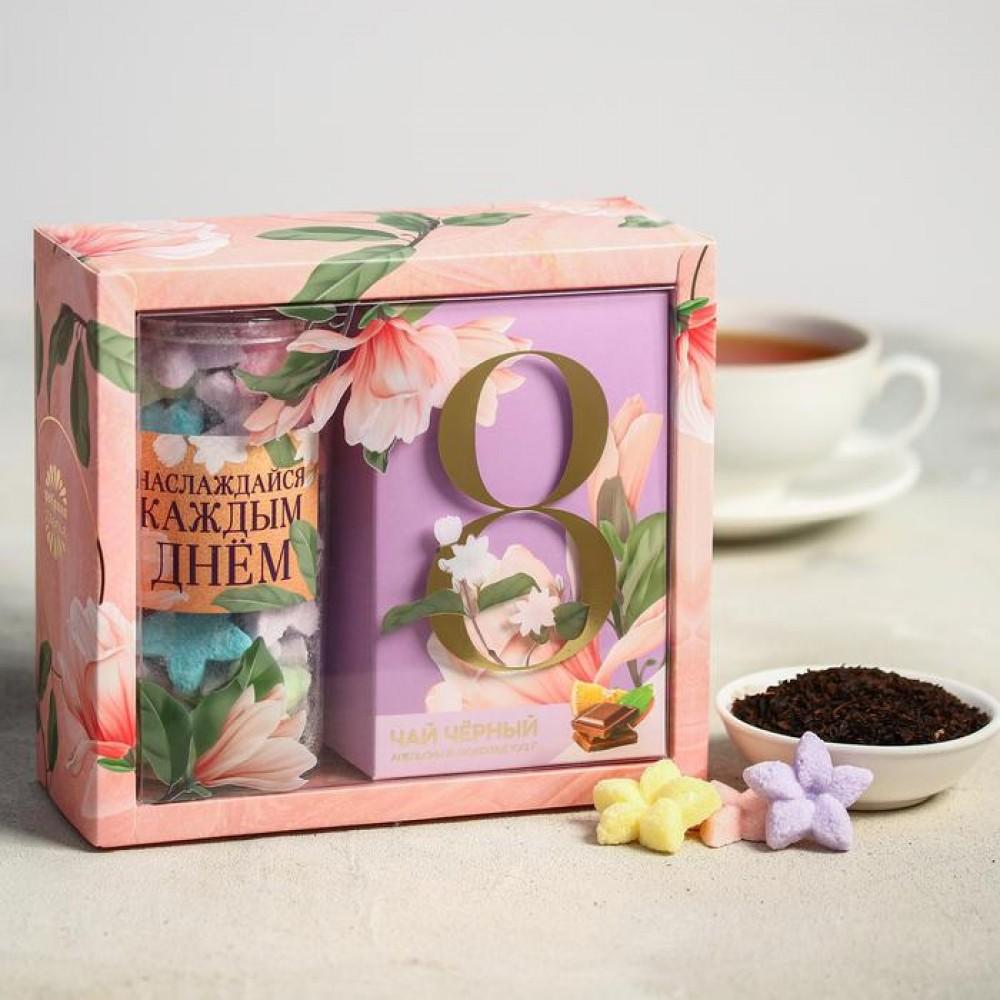 Подарочный набор на 8 марта «Наслаждайся каждым днем» чай и сахар