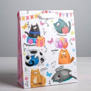 Пакет подарочный «Забавные коты» 12 × 15 × 5.5 см
