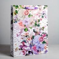 Пакет подарочный «Яркие цветы» 40 × 31 × 9 см