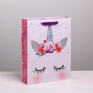 Пакет подарочный Единорог 31 × 40 × 9 см