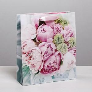 Пакет подарочный «Пионы» 23 × 27 × 8 см