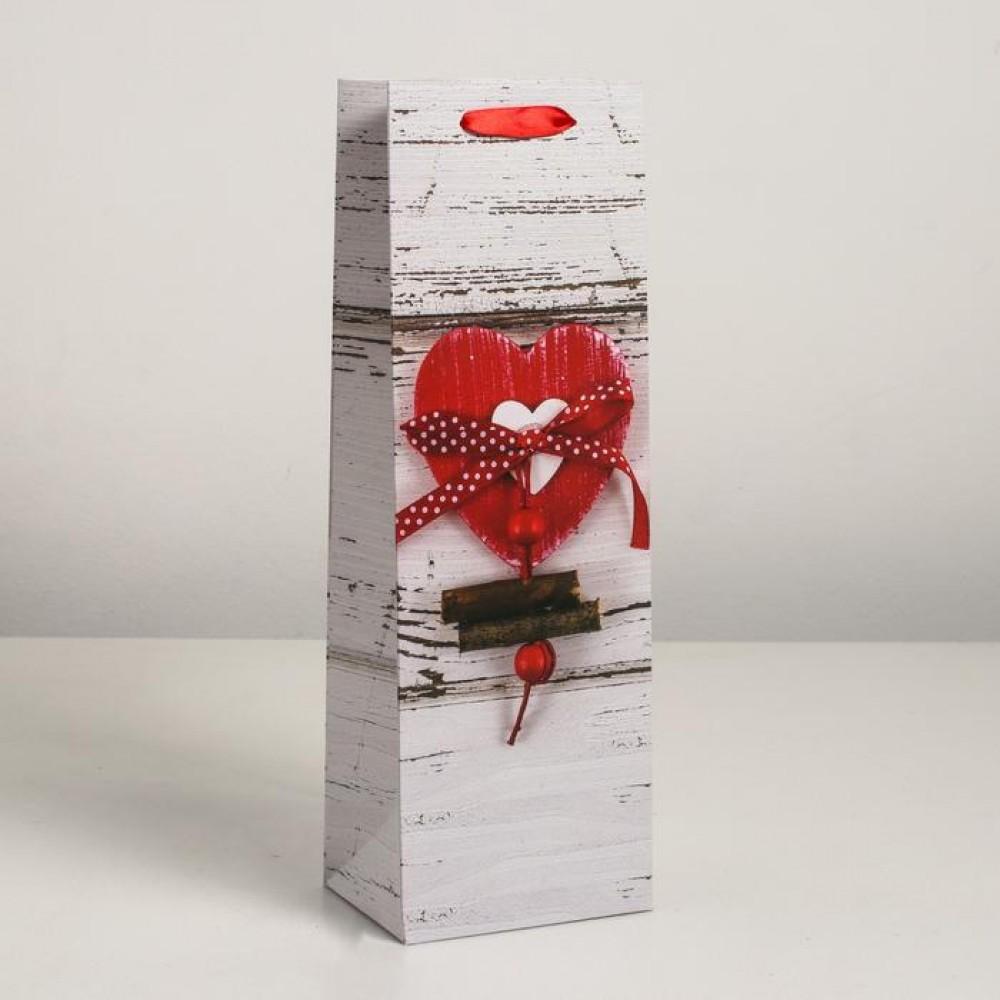 Пакет под бутылку «Сердце» 12 х 9 х 36 см