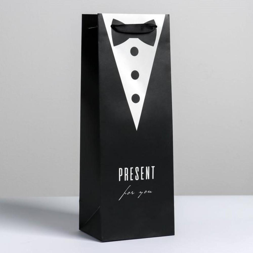 Пакет под бутылку Present for man 13 x 36 x 10 см