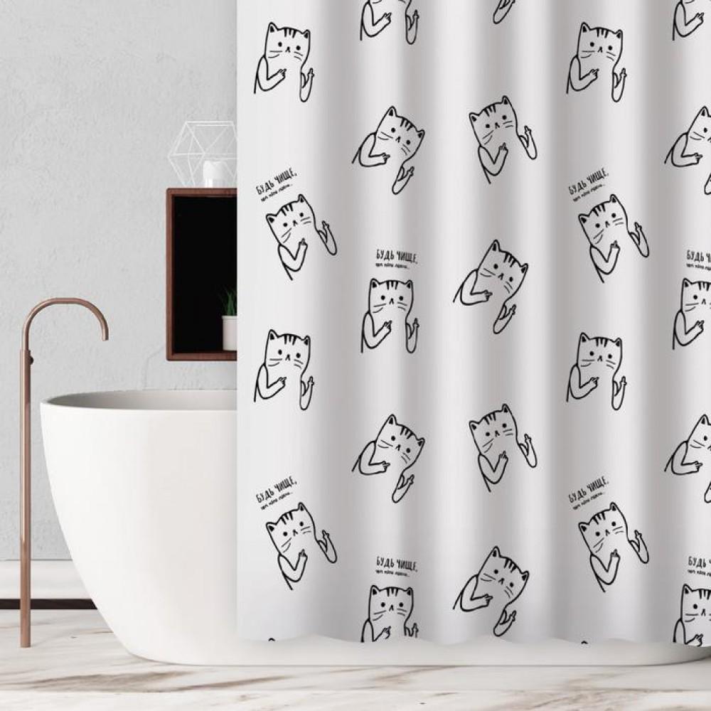 Шторка в ванную «Будь чище чем твои мысли» 180 х 180 см