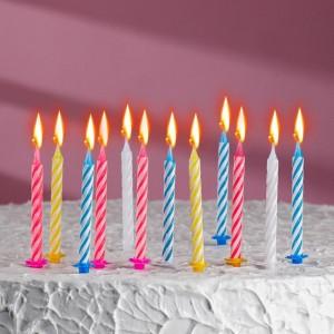 Свечи для торта «С днём рождения» 12штук