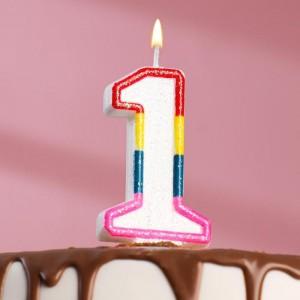 Свеча для торта цифра «1» , 7 см