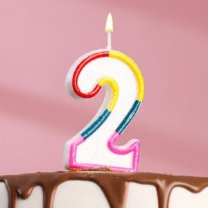 Свеча для торта цифра «2» , 7 см