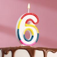 Свеча для торта цифра «6» , 7 см