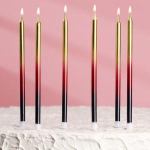 Высокие свечи для торта «С днём рождения» 6 шт