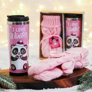 Женский подарочный набор «I love winter» термостакан и варежки