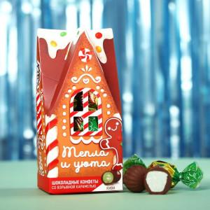 Шоколадные конфеты в домике «Тепла и уюта»,вкус: киви, 200 г.