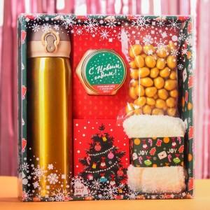Набор «Веселья в новом году» чай, крем-мед, носки, термос (золотой)