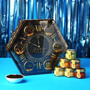 Подарочный набор «Часы. Золотого года» чай и крем-мед