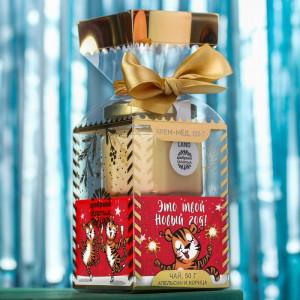 Подарочный набор «Это твой новый год» чай, крем-мёд с хлопком