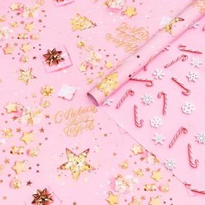 Двусторонняя бумага для упаковки «Розовая новогодняя»